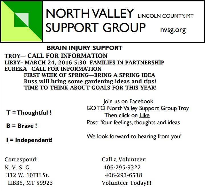 march meeting time for traumatic brain injury support group in lincoln county